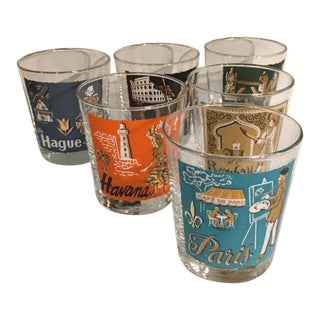 1950s Cities of the World Glasses by Libbey - Set of 6 For Sale