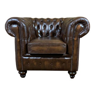 Vintage Mid-Century English Leather Chesterfield Club Chair, Brown For Sale