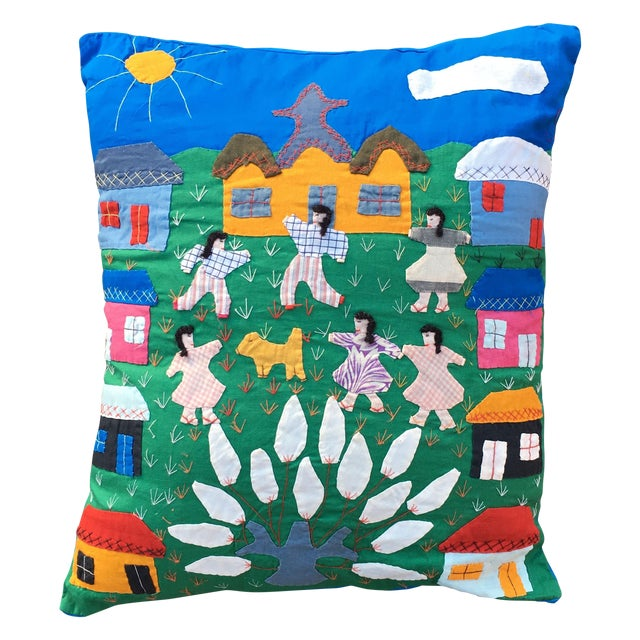 Handmade Colorful Cotton Pillow - Image 1 of 6