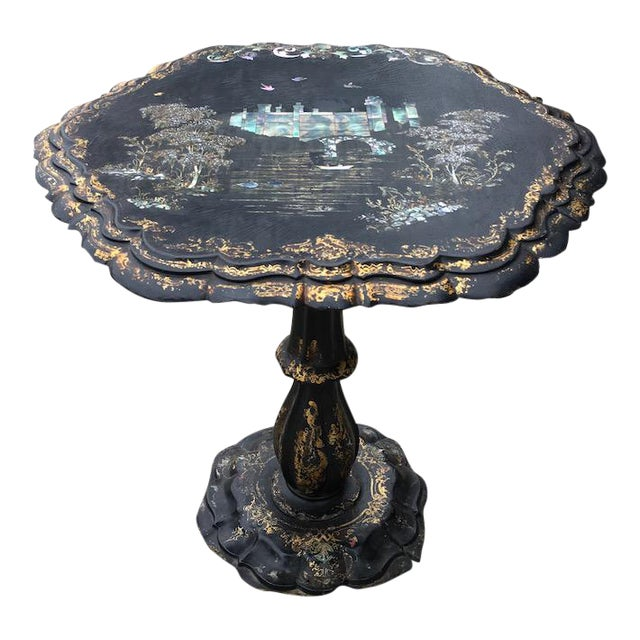 Victorian Papier-Mache & Mother of Pearl Table For Sale