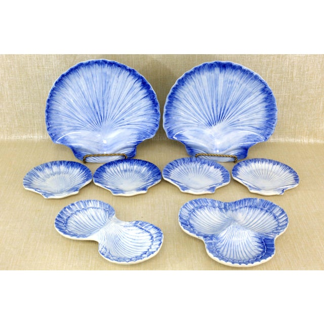 Collection of Made in Portugal Blue and White Shell Pottery - Set of 8 For Sale - Image 13 of 13