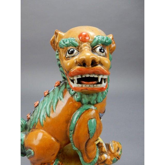 Late 19th Century Antique Chinese Nan King Orange Drip Glazed Female Foo Dog For Sale - Image 10 of 13