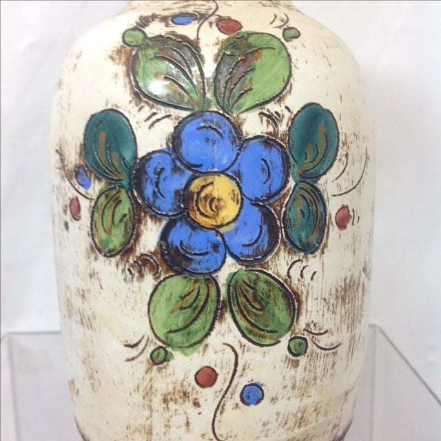 Large Mid Century Italian Hand Decorated Vase For Sale - Image 5 of 8