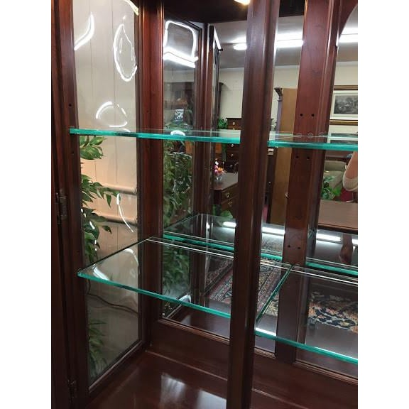 White Ethan Allen Full Bonnet Solid Cherry China Cabinet For Sale - Image 8 of 12