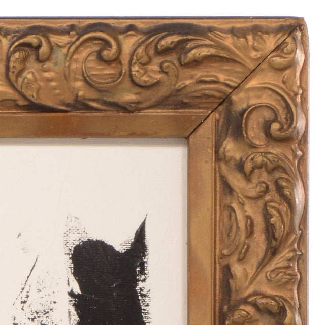2010s Original Black and White Abstract Painting in Vintage Frame For Sale - Image 5 of 8