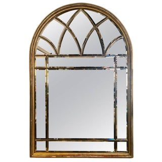 Domed Beveled Glass Detailed Beveled Wall or Console Mirror by La Barge For Sale