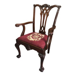 Antique Carved Mahogany Claw Foot Georgian Style Armchair W/Needlepoint Seat Cushion For Sale