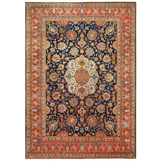 Large Antique Tabriz Persian Navy Background Rug - 11′ × 15′3″ For Sale