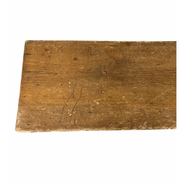 Early 20th Century Early 20th Century Vintage Country Farmhouse Wooden Bench For Sale - Image 5 of 10