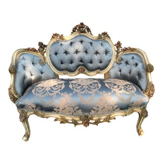 New French Louis XVI Style Blue Silk Damask Upholstered Sofa. Custom Made to Order For Sale