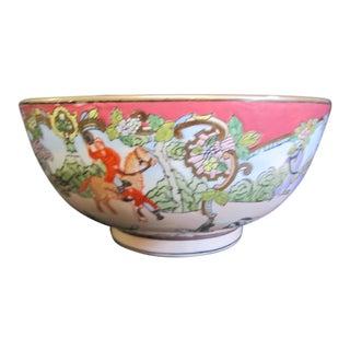 1960s Andrea by Sadek 10'' Diameter Bowl With Enamel Painting of Hunt Scene For Sale