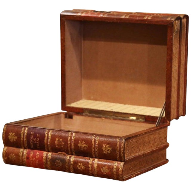 Early 20th Century French Leather Bound Books Decorative Box With Drawer For Sale