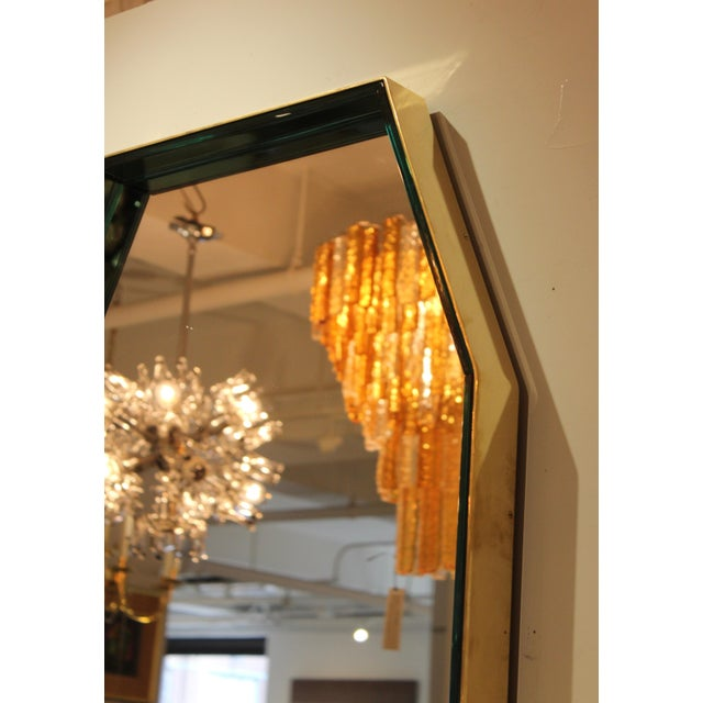Art Glass Fontana Arte Green Glass and Brass Octagonal Mirror For Sale - Image 7 of 11