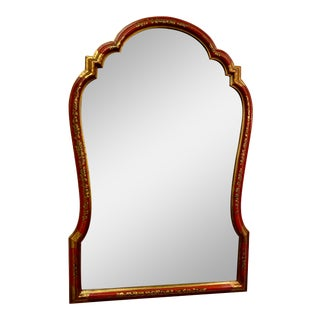 Red Lacquer and Chinoiserie Framed Bevel Edge Mirror by Baker C.1970s For Sale