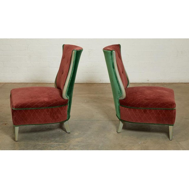 Art Deco Grosfeld House Hollywood Regency Red Velvet Slipper Chairs