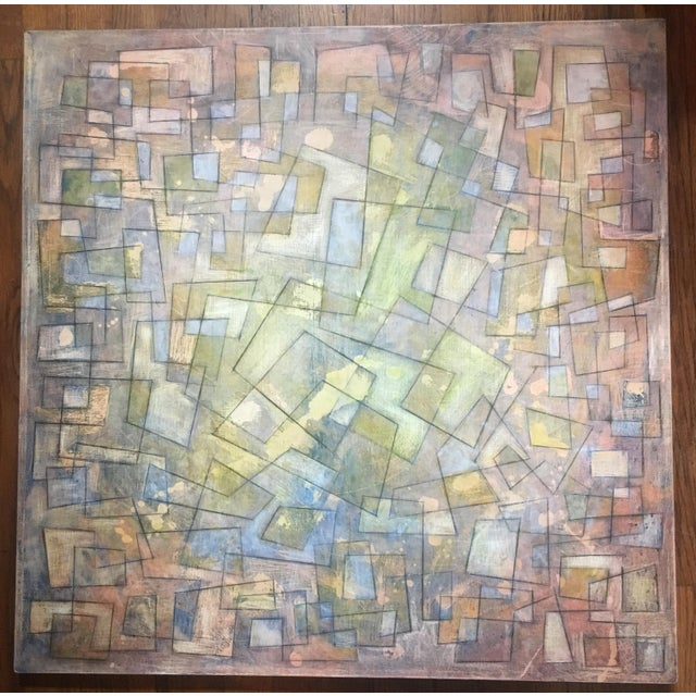 Gorgeous graphite on acrylic on canvas - amazing colors and richly layered and textured. Really beautiful and striking...