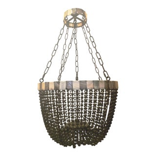 Noir Grey Beaded Chandelier With Grey and White Shell Trim For Sale