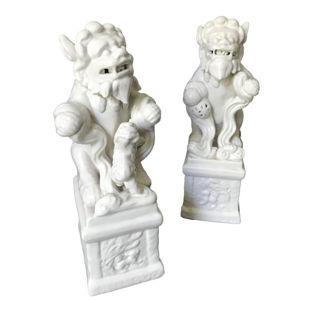 Vintage Blance De China Porcelain Foo Dogs - A Pair For Sale
