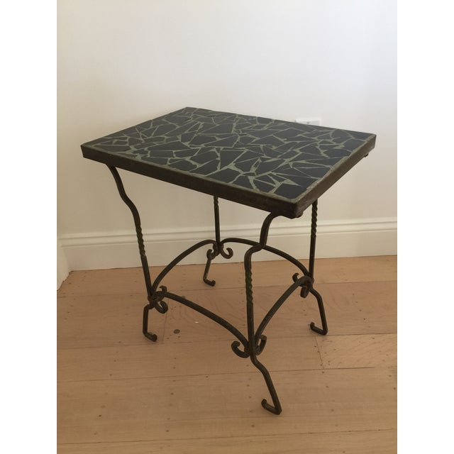 Broken Tile Coffee Table: Black Cracked Mosaic Tile Top Iron Side Table