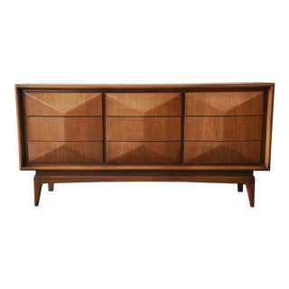 Mid-Century Modern Diamond Front Dresser or Credenza by United For Sale