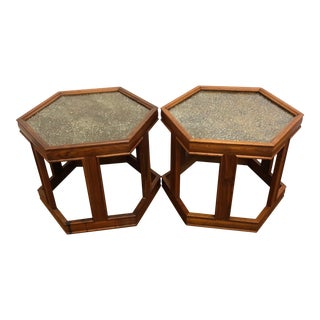 1950s John Keal for Brown Saltman Hexagonal Side Tables - a Pair For Sale