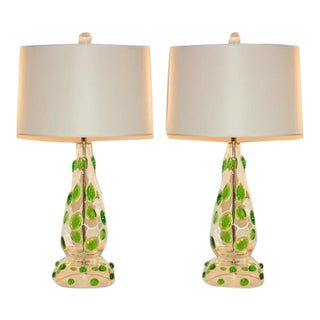 Green Prunts on Vintage Murano Lamps For Sale