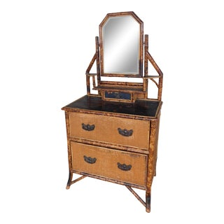 "Antique Bamboo Aesthetic Movement Vanity Chest 29""w For Sale"
