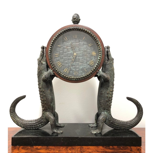 Maitland Smith Bronze and Marble Chiming Alligator Mantle Clock For Sale - Image 13 of 13