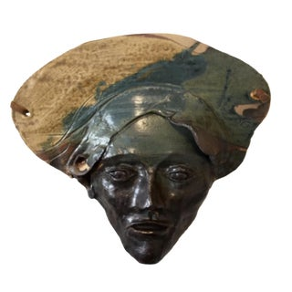 1970s Boho Chic Marco Coletti Pottery Mask Wall Art For Sale