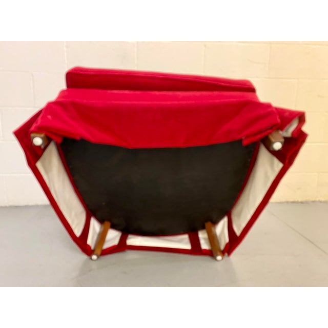 Ruby Red 1960s Vintage Red Velvet Button Tucked Arm Chair For Sale - Image 8 of 9