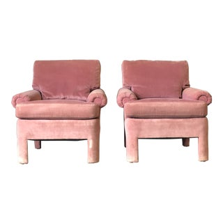 Pair of Pink Velvet Parson Style Chairs by Milo Baughman for Drexel For Sale