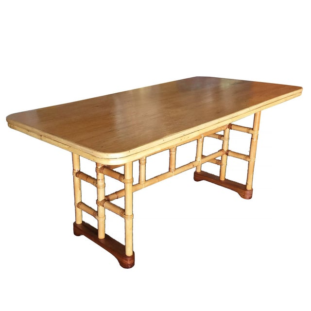 Paul Frankl Restored Mid-Century Rattan and Mahogany Dining Table With Skeleton Base For Sale - Image 4 of 8