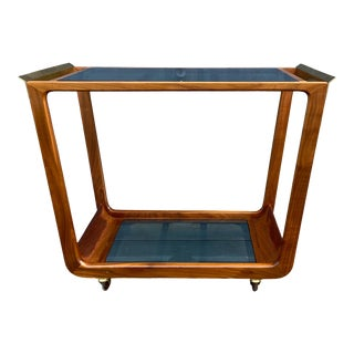 Vintage Danish Style Rolling Bar Cart Smoked + Mirrored Glass For Sale