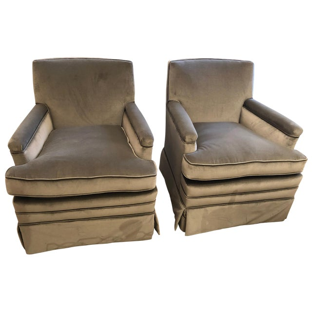 Moviestar Grey Platinum Pair of Vintage Club Lounge Chairs For Sale
