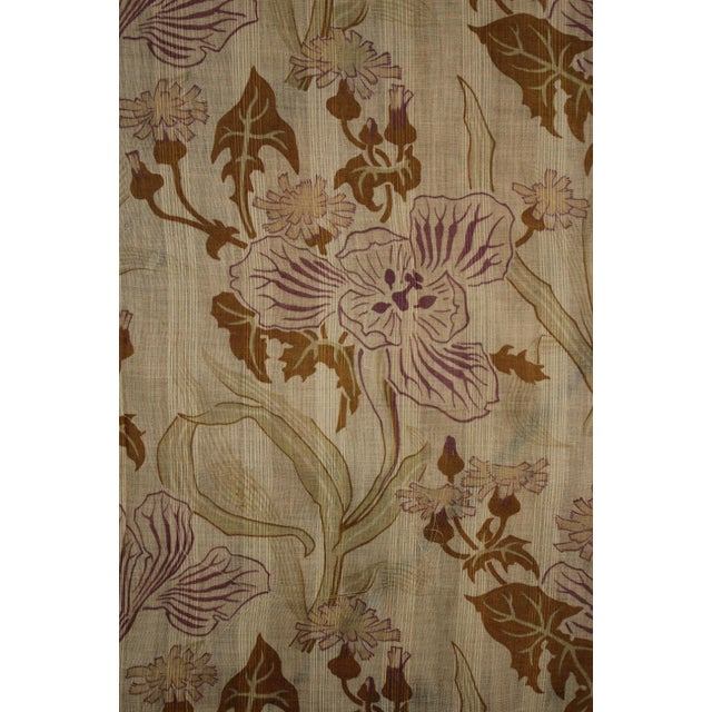 Late 19th Century Antique French Art Nouveau Light Weight Cotton Roller Print Floral Sheer Fabric For Sale - Image 5 of 12