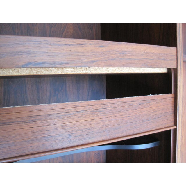 Danish Modern Rosewood Shelving Unit With Bar - Image 5 of 9