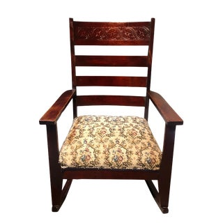 Antique Victorian Carved Mahogany Rocking Chair With Floral Motif Cushion For Sale