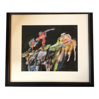 Original Jacob Landau Abstract Drawing/ Painting Listed 1980's For Sale