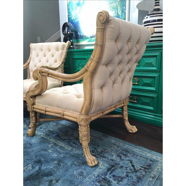 Maitland Smith Bamboo Claw Foot Chairs - Pair - Image 7 of 9