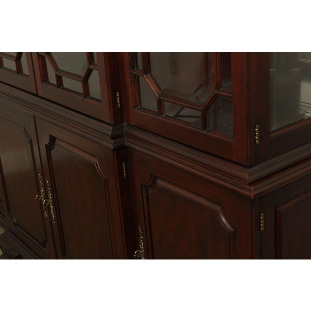 Henkel Harris Large Chippendale Style Mahogany Beveled Glass Breakfront China Cabinet #2382 For Sale - Image 12 of 12