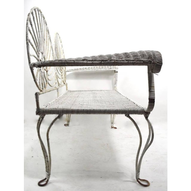 Nautilus Shell Back Wicker and Iron Garden Bench For Sale - Image 9 of 11