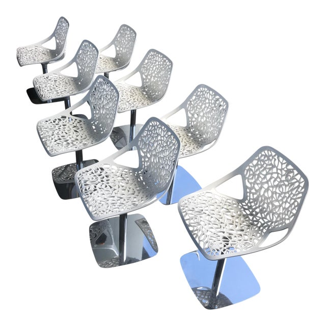 Casprini White Dining Chairs - Set of 8 For Sale