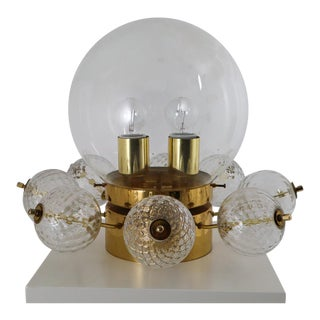 Mid Century Brass Ceiling Lamp-Chandelier With Handblown Art-Glass , 1960s For Sale