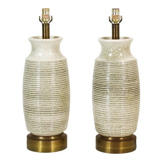 Pair of Mid Century Ceramic Table Lamps, Column Lamps, Crackle Table Lamps For Sale