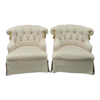 Late 20th Century Tomlinson Erwin-Lambeth Napoleon III Tufted Slipper Lounge Chairs- A Pair For Sale