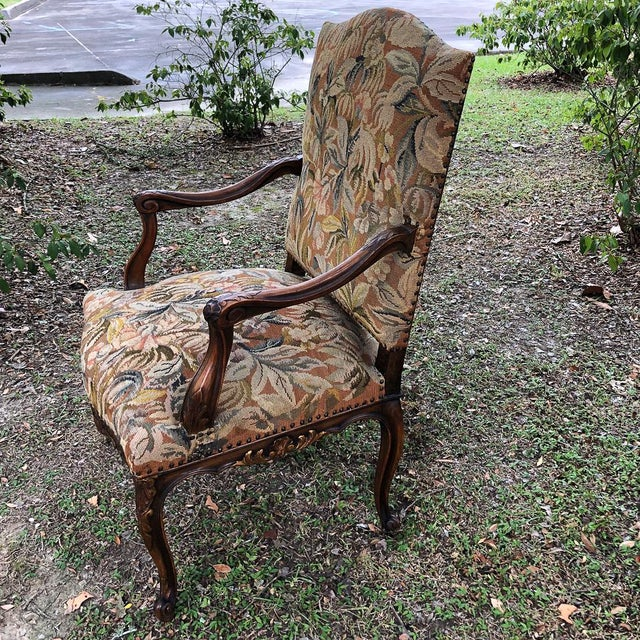 19th Century French Louis XV Tapestry Armchair For Sale - Image 4 of 13