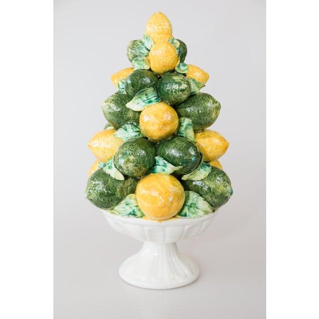 Ceramic Vintage Italian Majolica Lemon & Lime Topiary For Sale - Image 7 of 7