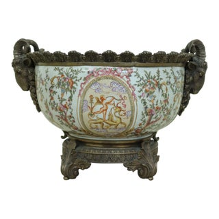 French Style Porcelain Center Bowl W. Bronze Mounts For Sale