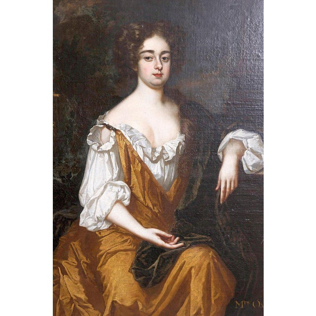 18th Century English Portrait of Mrs. Overbury Circle of Sir Godfrey Kneller For Sale In Dallas - Image 6 of 13