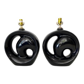 Black Art Deco Style Ceramic Swirl Lamps- a Pair For Sale